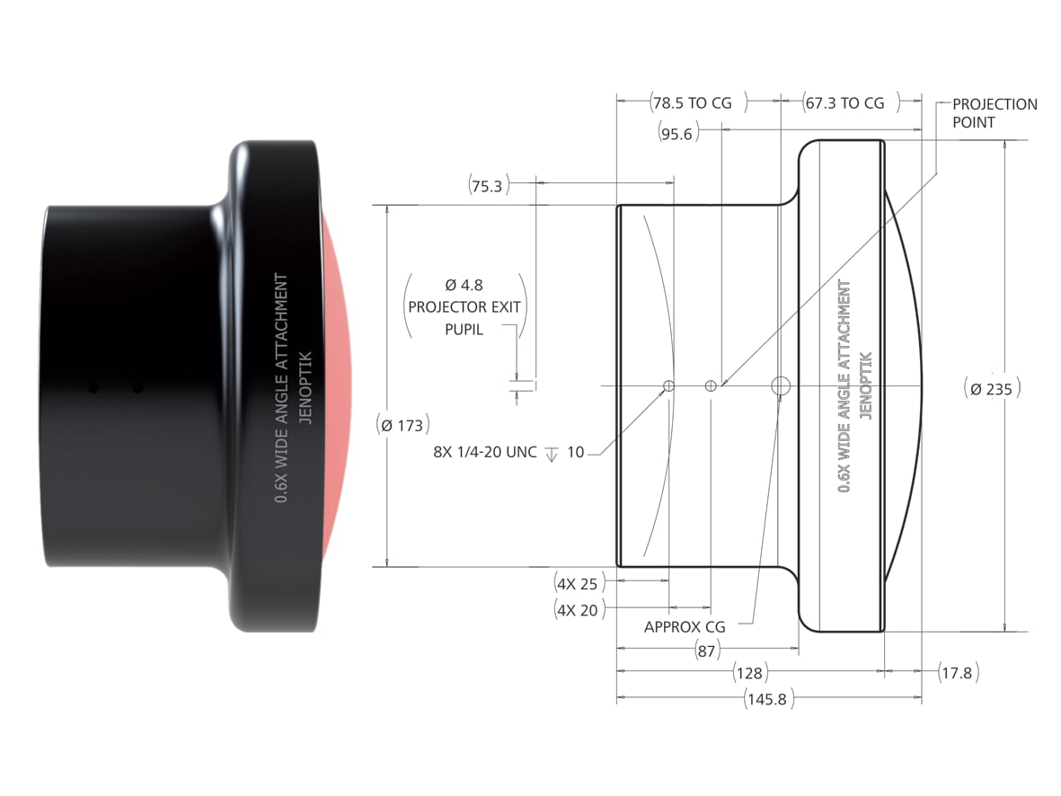 Projection lens adapter: technical drawing